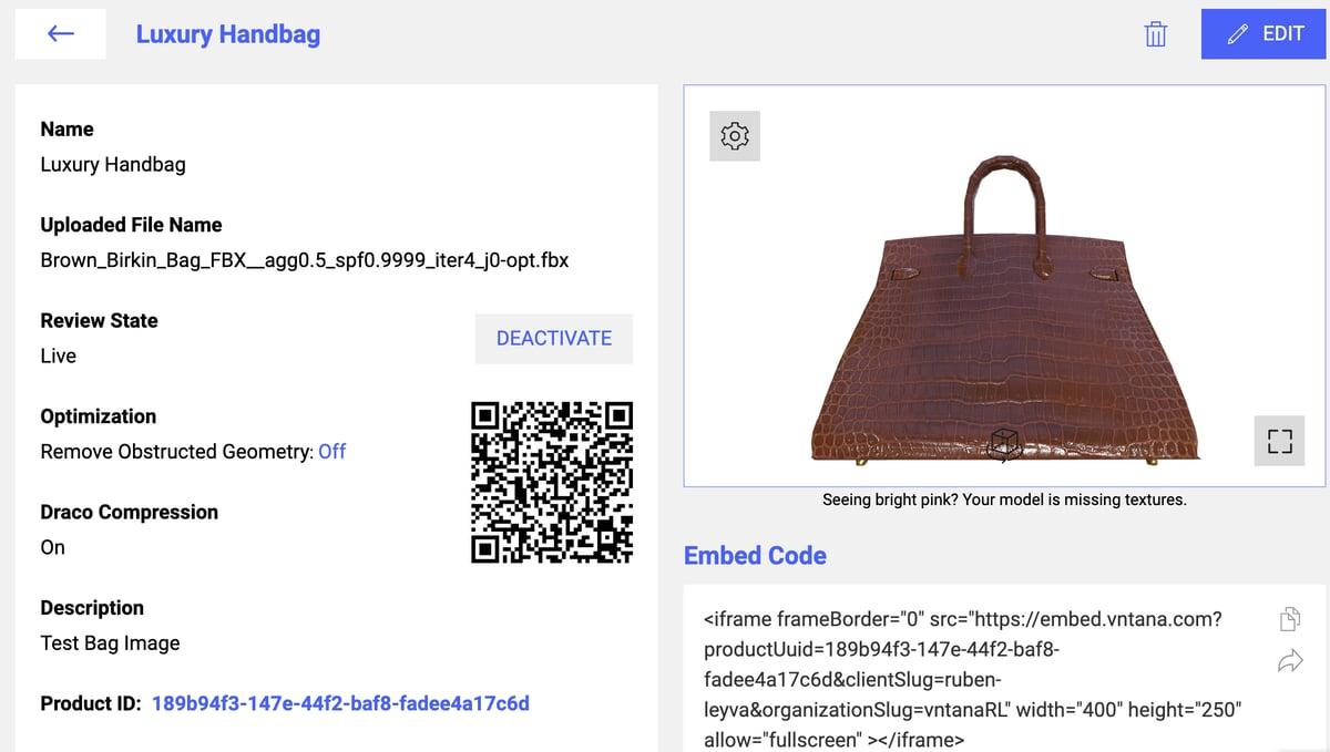 3D FBX Model of Brown Leather Bag on VNTANA Platform with QR Code